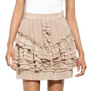 Anthropologie Taupe Silk Hidden Zip Ruffle Skirt 4
